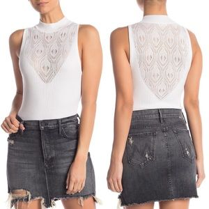 NEW Free People On Point Bodysuit white knit S